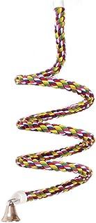 ASOCEA Jouet élastique en corde d'oiseau avec cloche en coton perroquet balançoire en spirale Cage d'escalade perche debou...