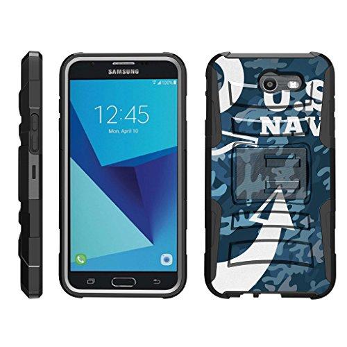 TurtleArmor   Compatible with Samsung Galaxy J7 2017 Case   J7 Prime   J7 Sky Pro [Hyper Shock] Rugged Hybrid Shell Kickstand Case Holster Belt Clip Robot Military War Army - U.S. Navy Camo