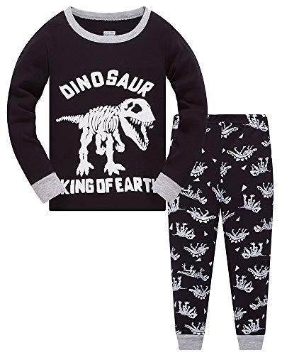Jungen Schlafanzug Dinosaurier Langarm Zweiteilig PyjamaKinder Baumwolle Schlafanzüge Set Winter Weihnachten Nachtwäsche Größe 2-12 Jahre