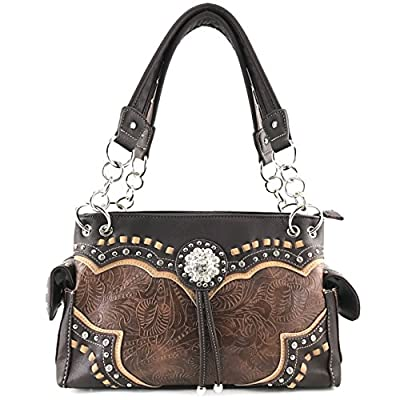 Justin West Western Tooled Rhinestone Concho Flower Embroidery Gleaming Design Chain Shoulder Handbag Purse with Concealed Carry and Phone Slot (Western Brown)