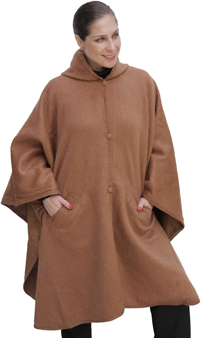 2021 autumn and winter new 70% OFF Outlet Hooded Alpaca Wool Cape Camel Lined Poncho Hood