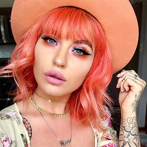 BLSWANER Orange Wavy Wig With Air Bangs Women