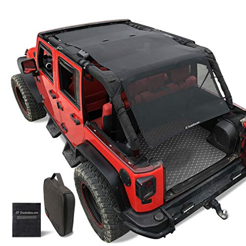 Shadeidea Sunshade for Jeep Wrangler JK Unlimited Sun Shade JKU 4 Door Top 2007-2018 Front+Rear+Trunk-Black Mesh Screen Cover UV Blocker with Grab Bag Storage Pouch-10 Years Lasting