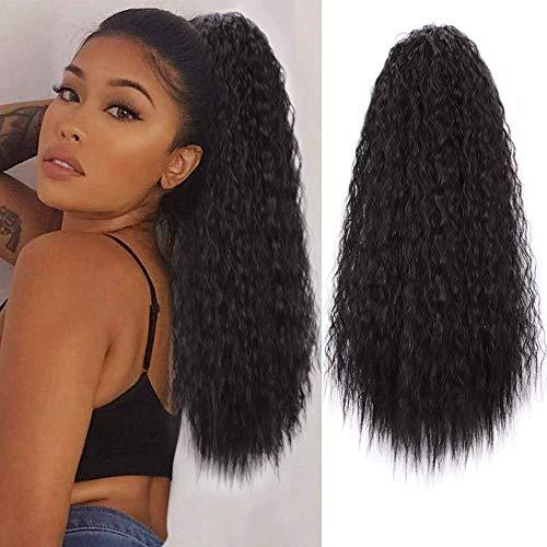 Ponytail Extension Pferdeschwanz Schwarz Haarteil Afro Kinky Curly Clip Extensions mit Kordelzug lang Haarverlängerunge Natürliches Balck Perücke Lockige fuer zopf 2#/ca.58cm VD056B