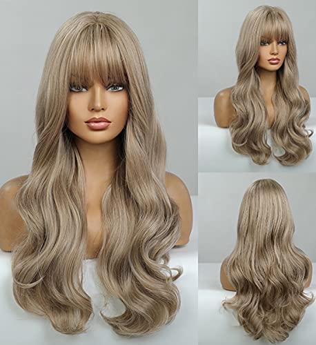 LANOVA - Pelucas castañas desvanecidas en plata ceniza con fleco, pelucas sintéticas de pelo ondulado sin pegamento para mujeres, de 18 pulgadas LANOVA - 137