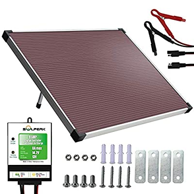 SOLPERK 12V Solar Panel?Solar trickle Charger?Solar Battery Charger and Maintainer? Suitable for Automotive, Motorcycle, Boat, ATV,Marine, RV, Trailer, Powersports, Snowmobile, etc. (30W Amorphous)