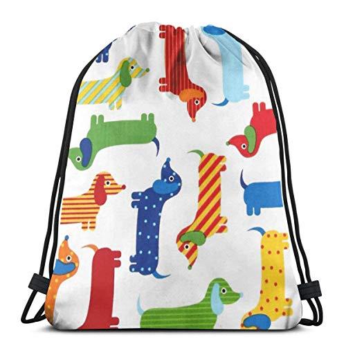 asdew987 Mochila con cordón y diseño de perro salchicha colorido, unisex, ligera, para viajes
