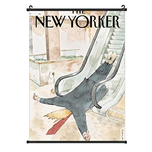 Vintage Hanging Poster Canvas Wall Art The New Yorker Painting Prints Tapestry Linen Scroll with Tassels Poster Decorative Painting Canvas Wall Art Living Room Posters Bedroom Painting 20''¡Á28''