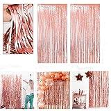 Unishop Gonna da tavolo, 6 pezzi, con frange, decorazione per feste, San Valentino, Natale, compleanno, festa, colore: oro rosa