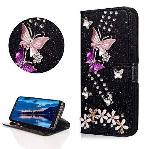 DasKAn Diamant Glitzer Leder Hülle für Samsung Galaxy S9, Schmetterling Blumen Strass Magnetisch Klapphülle Handy Tasche mit Kartenfach Standfunktion Stoßfest Brieftasche Schutzhülle,Schwarz#1