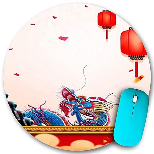 Rundes Mauspad, chinesische drachenrote Laterne im ethnischen Stil, rutschfeste Gummibasis Office Home Mauspads Klein 7,9x7,9 in Mouse Mate