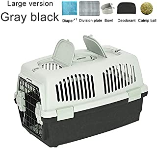 CHUJIAN Pet Transport Bag Breathable Dog Cat Carrier Bag Case Big Space Airline Approved Car Portable Carrying Travel Puppy Cage Box (Color : Large Gray Black, Size : 37x58x37cm)