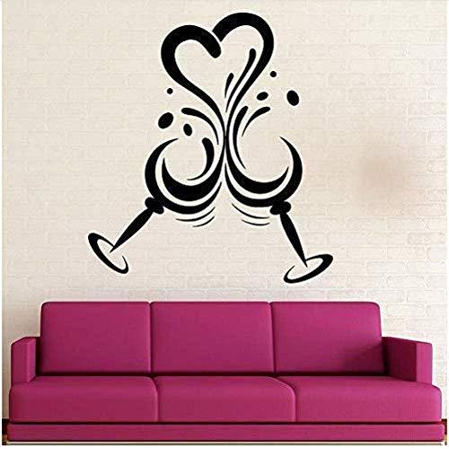 Muurstickers muurschilderingen Decals Goblet Drink Glas Wijn Restaurant Keuken Home Ation Liefde Deur en Raam 42X46cm