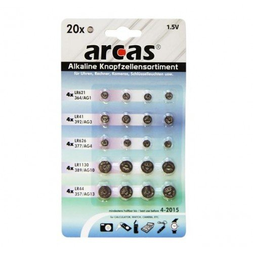 Arcas 12792000 AG Alkaline Knopfzellenset 20 teilig (4x AG1, 4x AG3, 4x AG4, 4x AG10, 4x AG13)