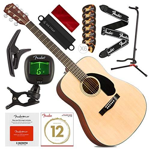 Fender CD-60S Guitarra acústica Dreadnought, natural com cartão pré-pago Fender Play, suporte de guitarra, capo, cordas, palhetas, afinador, alça e conjunto de platina