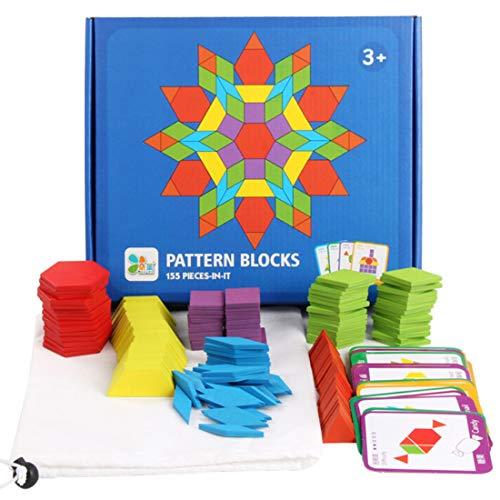 YxFlower Formas geométricas para niños, 155 piezas, puzles de tanzangram de madera, juguetes educativos inteligentes, juguetes educativos para niños