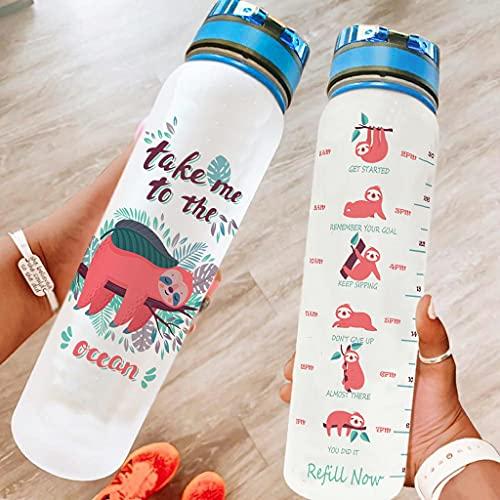 Bestwe Faultier - Botella de agua de Tritan con diseño de árbol, ligera, para deporte, fitness, exterior, senderismo, color blanco, 1000 ml