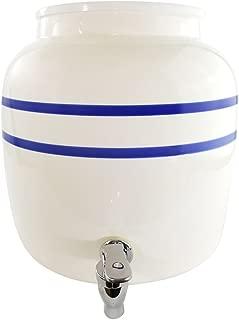 Premium Porcelain Water Crock Dispenser - Elegant Countertop Dispenser With 2.5 Gallon Capacity & No Drip Faucet - Double Blue Line Stripe Crock - Perfect For Kombucha Brewing and Dispensing