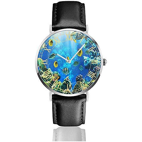 Reloj Cute Fish Amazing Relojes de Pulsera Cuarzo Acero Inoxidable y Cuero de PU Personalizado Personalizado para Unisex