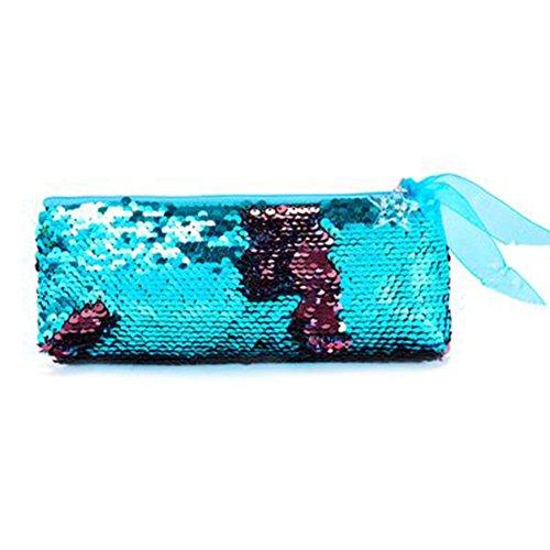 Rocita Neceser para maquillaje de Lentejuelas para viaje,Bolsa de Cosmético de Aseo brillante y reversible Organizador de maquillaje y Utensilios(Azul)