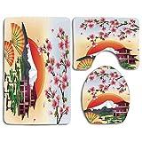 Set de alfombras de baño de seguridad Nature Sakura Blossom Art con pétalos voladores Abanicos Bonsai Pagoda Mountain Rising Sun Alfombra de baño + Alfombra de contorno + Funda de inodoro, felpudos Ba