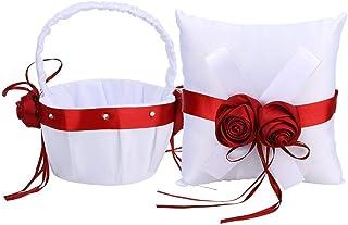 BLLBOO Canasta de Flores - Juego de Canasta de Flores y Anillo de Almohada para niña de Boda(Cesta de Flores + Almohada de Anillo)