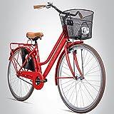 Bergsteiger Amsterdam 28 Zoll Damenfahrrad, ab 150 cm, Korb, Fahrrad-Licht, Damen-Citybike mit...