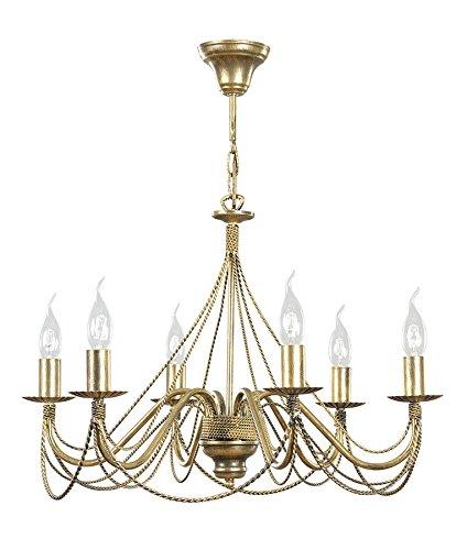 Klassischer Kerzen Kronleuchter 6 flammig Goldfarbiges Metall Hängelampe Tori 6