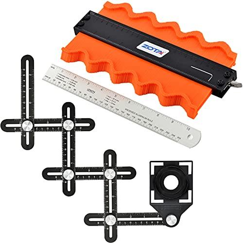 ZOTA Contour Gauge and 6 Fold Measuring Tool Kit,10' Metal Contour Gauge with Lock, Aluminum Alloy multi angle measuring ruler& 10' Aluminum Rulers -tile tools for installation