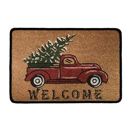TSVAGA Brown Welcome Doormat Indoor Outdoor Heavy Duty Carpet Area Mat Christmas Car Printed Funny Home Decor Floor Mat Non-Slip Kitchen Rugs Xmas Gifts Small Size 40x60cm