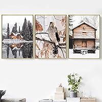 冬のキャンバスアートペインティングスノーレイクハウスパインイーグルイーグル壁画北欧ポスターとプリントリビングルームの装飾(70x90cm)X3ノーフレーム