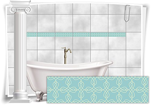 Medianlux Fliesenaufkleber Bordüre Fliesen Aufkleber Vintage Nostalgie Retro Bad WC Küche, 20 Stück, 25x6,5cm (BxH)