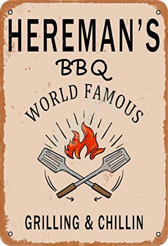 Keely Hereman'S BBQ World Famous Grilling & Chillin Decorazione da Parete in Metallo Vintage con targhetta in Metallo 12x8 Pollici per Bar, ristoranti, Pub, Uomo, Grotta Decorativa