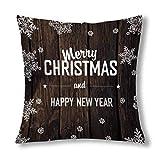Kinhevao Feliz Navidad y Feliz año Nuevo en los tablones de Madera Decoración con Cremallera Cojín Decorativo Almohada, Throw Pillow