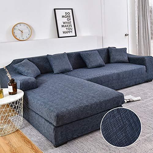 Fundas de sofá de Esquina para Sala de Estar Fundas elásticas para sofá Funda de sofá elástica Toalla en Forma de L Chaise Longue A12 3 plazas