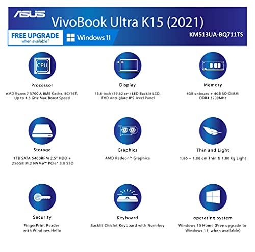 ASUS VivoBook Ultra K15 (2021), 15.6-inch (39.62 cms) FHD AMD Ryzen 7 5700U, Thin and Light Laptop (8GB/1TB HDD + 256GB SSD/Office 2019/Windows 10/Integrated Graphics/Gold/1.8 kg), KM513UA-BQ711TS