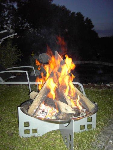 Feuerschale aus Edelstahl ØxH: 700x300 mm, Design 2: eckig, für Garten oder Terrase (Marke: Szagato) Made in Germany (Grillschale, Feuerkorb, Design-Feuerschale Edelstahl, Kaminschale)