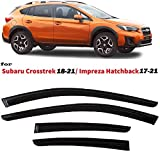Smoke Black Tinted Tape-On Side Window Vent Visor Deflectors Rain Guards Compatible with Subaru Crosstrek 2018 2019 2020 2021 & Compatible with Subaru Impreza 2017 2018 2019 2020 2021 5 Door Hatchback