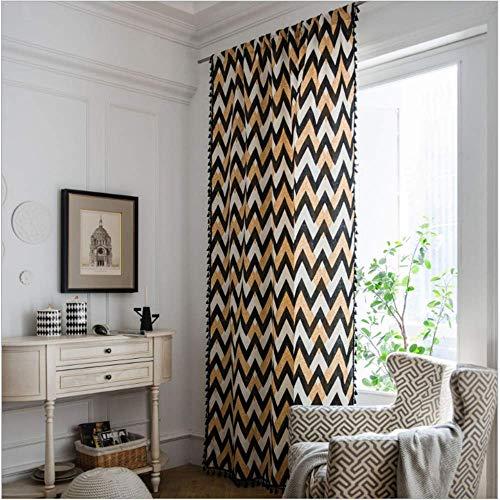 MMHJS Vorhang Geometrisches Quastenmuster Moderner Küchenvorhang Einfacher Wilder Halbschattenvorhang