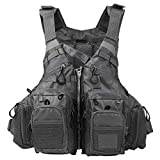 Lixada Fly Fishing Vest,Fishing Safety Jacket Breathable Polyester Mesh Design Fishing Vest for Swimming Sailing Boating Kayak Floating(Foam/without Foam Optional)