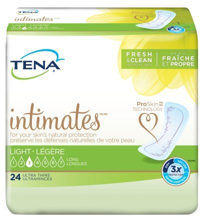 TENA Intimates Light Ultra Thin Pads Long, 24 Count (Pack of 6)