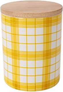 Food Storage Canister,550ML(18.6FL OZ),COSYME Yellow Ceramic Farmhouse Country Coffee Tea Flour Powdered Sugar jar with Bamboo Airtight Lid for Kitchen