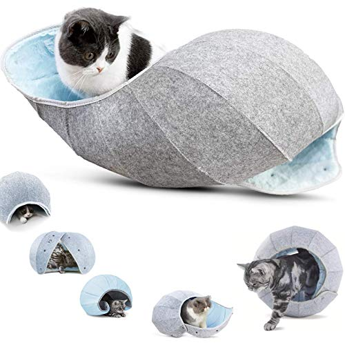 K·1 Cat Caves, Indoor Cat Toy Balls & Beds, Interactive 8 in 1 Condos Tunnel Tube, Portable & Foldable Multi-Function Scratch Resistant Fun Toy (Blue)