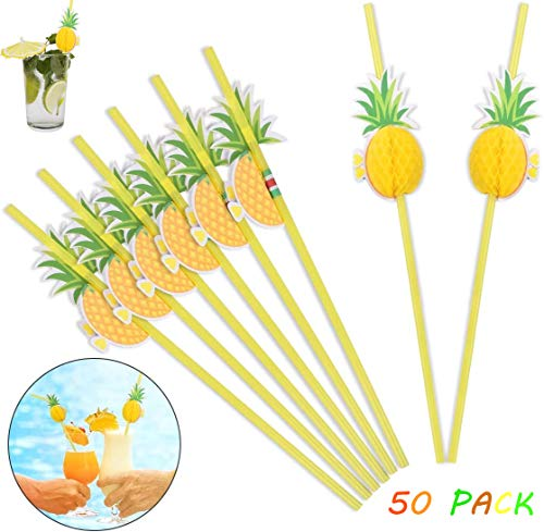 FLZONE Hawaii Drinking Straws,50 Pack 3D Pineapple Cocktail Straws Bendable Cocktail Straws for Hawaiian Birthday Wedding Celebration Party Decoration