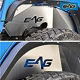 EAG Front + Rear Inner Fender Liner Wells Silver Aluminum 4PCS for 07-18 Wrangler JK