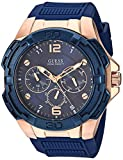 GUESS Oversized Iconic Rose-Gold-Tone Blue Stain Resistant Silicone Watch with Day, Date + 24 Hour Military/Int'l Time. Color: Iconic Blue (Model: U1254G3)