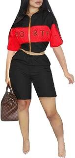 Women's 2 Piece Outfits – Color Block Short Sleeve Zipper Up Windbreaker Jacket Crop Tops + Shorts Set Tracksuit Jumpsuits