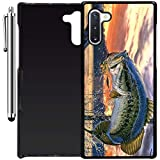 Custom Case Compatible with Galaxy Note 10 (Pro Fishing Bass Mouth) Plastic Black Cover Ultra Slim | Lightweight | Includes Stylus Pen by Innosub