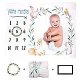 Xiangmall Manta Fotografia Bebes Manta Bebé de Hitos Mensuales Regalos para Mamas Embarazadas y Regalo Baby Shower (Animal, 47' x 39')