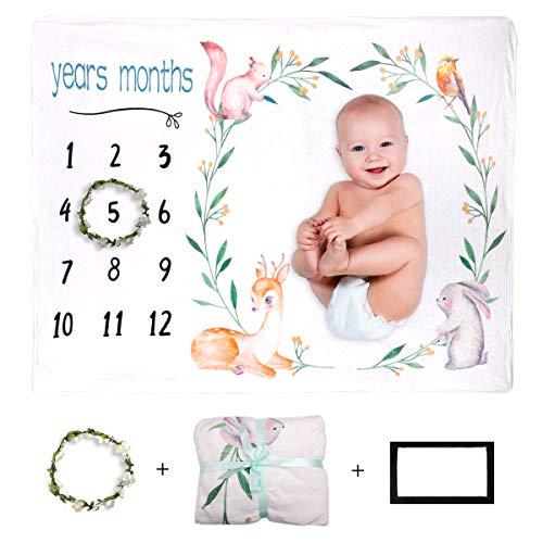Xiangmall Manta Fotografia Bebes Manta Bebé de Hitos Mensuales Regalos para Mamas Embarazadas y Regalo Baby Shower (Animal, 47